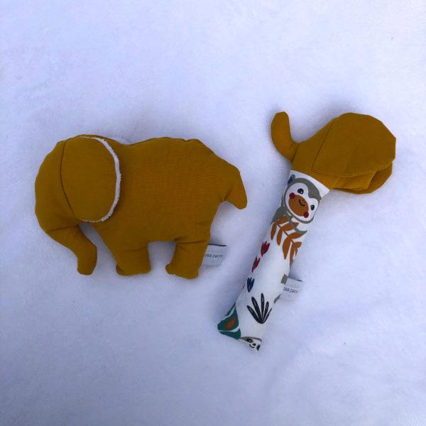 Jeux Enfant Éveil Éléphant + Hochet Moutarde 1
